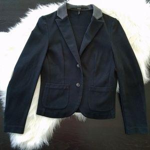 Kensie Black Blazer with Grey Elbow Pads & Collar